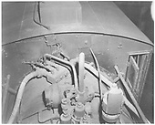 K-37 #497 detail of boiler top in front of the cab showing steam turret and dynamo.<br /> D&amp;RGW    1968