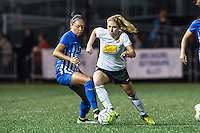 Allston, MA - Saturday Sept. 24, 2016: Kyah Simon, McCall Zerboni during a regular season National Women's Soccer League (NWSL) match between the Boston Breakers and the Western New York Flash at Jordan Field.