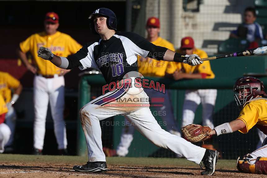 Walker Moses #10 of the Northwestern Wildcats bats against the USC Trojans at Dedeaux Field on  February 16, 2014 in Los Angeles, California. USC defeated Northwestern, 13-6. (Larry Goren/Four Seam Images)
