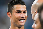 Cristiano Ronaldo of Real Madrid celebrates with manager Zinedine Zidane of Real Madrid after the Santiago Bernabeu Trophy 2017 match between Real Madrid and ACF Fiorentina at the Santiago Bernabeu Stadium on 23 August 2017 in Madrid, Spain. Photo by Diego Gonzalez / Power Sport Images