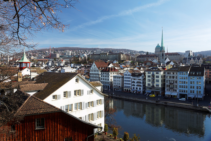 Zurich and Limmat River viewed from Lindenhof Hill, Schipfe neighborhood, Zürich Switzerland
