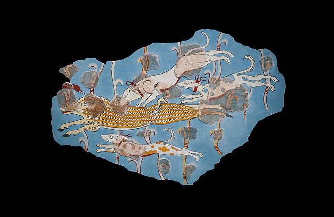 Mycenaean Fresco wall painting of a Wild Boar Hunt from the Tiryns, Greece. 14th - 13th Century BC. Athens Archaeological Museum.<br />  Black Background