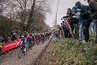 peloton led by Iljo Keisse (BEL/Quick-Step floors) over the Oude Kwaremont<br /> <br /> 102nd Ronde van Vlaanderen 2018 (1.UWT)<br /> Antwerpen - Oudenaarde (BEL): 265km