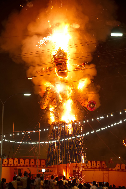 The burning of 75 feet tall effigies mark the climax of the Dussehra Festival in Kota, one of India's major Hindu celebrations.