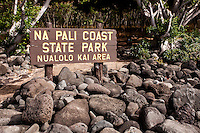 Na Pali Coast Sate Park Nualolo Kai Area sign, Kauai