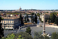 Rome  August  21 2008.View of the city and the Saint-Peter's church and The piazza del Popolo and the obelisk of Ramses II coming from Heliopolis from the Pincio..