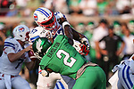 North Texas Mean Green defensive end LaDarius Hamilton (2) in action during the game between the UNT Mean Green and the SMU Mustangs at the Gerald J. Ford Stadium in Fort Worth, Texas.