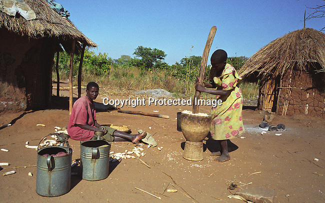 dicomal00018 Malawi. Villagers grounding maize on June 11, 2002 in Zuwala village in Salima district in Malawi. Malawi has recently been hit by and has been hit by drought and flooding and a food crisis is looming in the country..©Per-Anders Pettersson/iAfrika Photos..