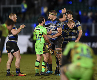 Tom Ellis of Bath Rugby and Nic Groom of Northampton Saints at the final whistle. Anglo-Welsh Cup Semi Final, between Bath Rugby and Northampton Saints on March 9, 2018 at the Recreation Ground in Bath, England. Photo by: Patrick Khachfe / Onside Images
