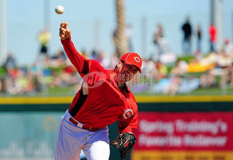 Mar. 15, 2010; Goodyear, AZ, USA; Cincinnati Reds pitcher Mike Lincoln throws against the Oakland Athletics at the Goodyear Ballpark. Mandatory Credit: Mark J. Rebilas-