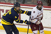 Johnathan Kovacevic (Merrimack - 8), Ron Greco (BC - 28) - The visiting Merrimack College Warriors defeated the Boston College Eagles 6 - 3 (EN) on Friday, February 10, 2017, at Kelley Rink in Conte Forum in Chestnut Hill, Massachusetts.