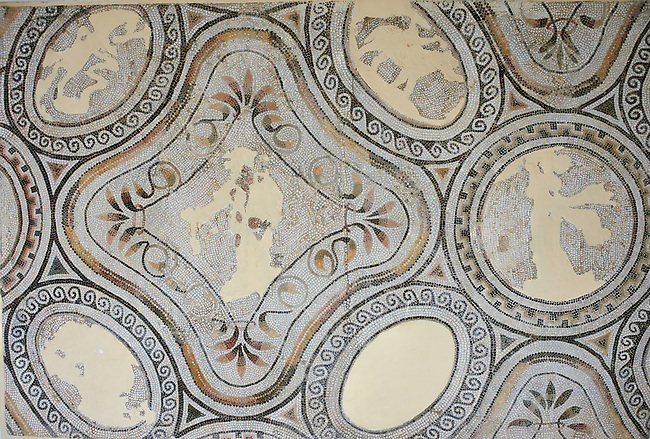 Pictures of a Roman mosaics, from the ancient Roman city of Thysdrus. 3rd century AD. El Djem Archaeological Museum, El Djem, Tunisia.