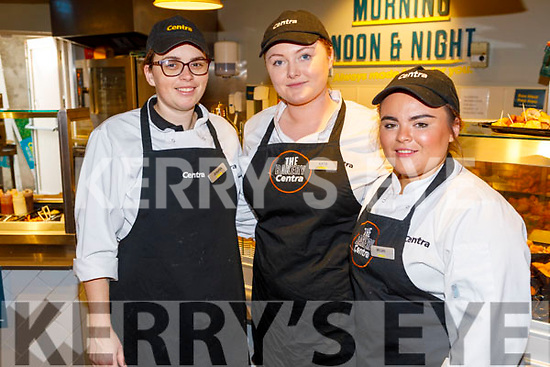 Jennifer Cashman, Katie O'Halloran and Megan Casey Lawlor, working hard behind the scenes at the reopening of Moriarty's Centra Ballyheigue on Friday