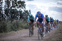Fabien Grellier (FRA/Total - Direct Energie) leading the peloton over one of the first gravel sections. <br /> <br /> <br /> Antwerp Port Epic 2019 <br /> One Day Race: Antwerp > Antwerp 187km<br /> <br /> ©kramon
