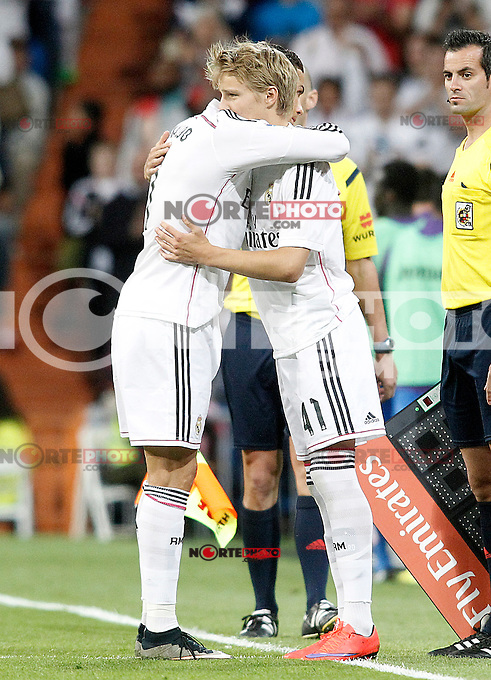 Real Madrid's Odegaard (r) and Cristiano Ronaldo during La Liga match. May 23,2015. (ALTERPHOTOS/Acero) /NortePhoto.com