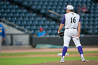 Winston-Salem Dash starting pitcher Carson Fulmer (16) looks to his catcher for the sign against the Myrtle Beach Pelicans in game one of the Carolina League Southern Division Championship series at BB&T Ballpark on September 9, 2015 in Winston-Salem, North Carolina.  (Brian Westerholt/Four Seam Images)