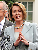 Washington, DC - October 6, 2009 -- United States Speaker of the House Nancy Pelosi makes remarks after meeting United States President Barack Obama on the U.S. strategy in Afghanistan on Tuesday, October 6, 2009..Credit: Ron Sachs / Pool via CNP