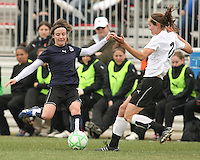 Sonia Bompastor of the Washington Freedom and Keely Dowling  of Sky Blue F.C. go for a loose ball during a WPS pre season match at Maryland Soccerplex,in Boyd's, Maryland on March 14 2009. Sky Blue won the match 1-0