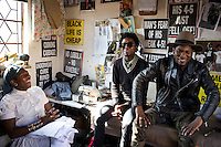 SOWETO, SOUTH AFRICA JULY 3: Sibu Sithole (l), Teekay Makwale and Floyd Avenue, young designers part of the group Smarteez chat in their workshop on July 3, 2014 in Jabulani section of Soweto, South Africa. Soweto today is a mix of old housing and newly constructed townhouses. A new hungry black middle-class is growing steadily. Many residents work in Johannesburg but the last years many shopping malls have been built, and people are starting to spend their money in Soweto. (Photo by: Per-Anders Pettersson)