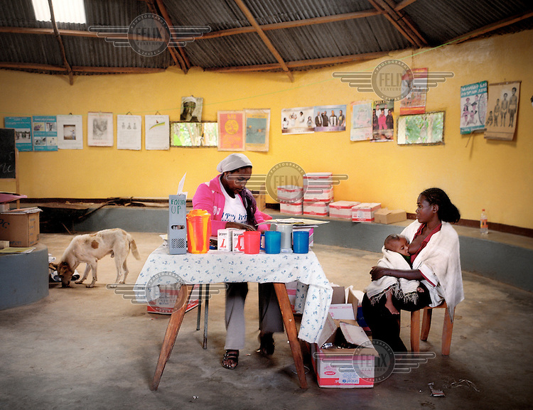 Fulasa health centre, where families come to receive Plumpy'nut (Plumpy), a highly nutritious, peanut-based supplement that has a shelf life of 24 months, costs around US$0.06 per sachet and is used widely for famine relief.
