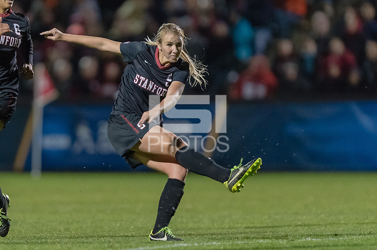 November 15, 2013: Courtney Verloo during the Stanford vs Cal State Fullerton NCAA 1st round women's soccer match in Stanford, California.  Stanford won 1-0.