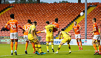 Blackpool's Ben Heneghan scores the opening goal <br /> <br /> Photographer Alex Dodd/CameraSport<br /> <br /> EFL Leasing.com Trophy - Northern Section - Group G - Blackpool v Morecambe - Tuesday 3rd September 2019 - Bloomfield Road - Blackpool<br />  <br /> World Copyright © 2018 CameraSport. All rights reserved. 43 Linden Ave. Countesthorpe. Leicester. England. LE8 5PG - Tel: +44 (0) 116 277 4147 - admin@camerasport.com - www.camerasport.com
