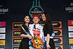 Sam Oomen (NED) Team Sunweb wins the young riders Maglia Bianca on the podium at the end of Stage 7 of the Race of the Two Seas, the 54th Tirreno-Adriatico 2019, an individual time trial running 10.1km around San Benedetto del Tronto, Italy. 19th March 2019.<br /> Picture: LaPresse/Gian Mattia D'Alberto | Cyclefile<br /> <br /> <br /> All photos usage must carry mandatory copyright credit (&copy; Cyclefile | LaPresse/Gian Mattia D'Alberto)