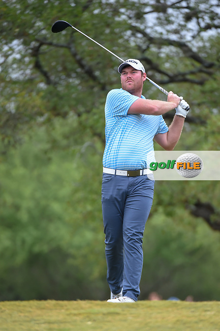 Grayson Murray (USA) watches his tee shot on 2 during Round 3 of the Valero Texas Open, AT&T Oaks Course, TPC San Antonio, San Antonio, Texas, USA. 4/21/2018.<br /> Picture: Golffile | Ken Murray<br /> <br /> <br /> All photo usage must carry mandatory copyright credit (© Golffile | Ken Murray)