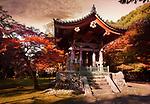 Daigo-ji temple Bell tower in colorful autumn scenery. Shimo-Daigo part of Daigoji complex, Shingon Buddhist temple in Fushimi-ku, Kyoto, Japan 2017