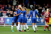 Chelsea Ladies congratulate Maren Mjelde after scoring their opening goal during Chelsea Ladies vs Liverpool Ladies, FA Women's Super League FA WSL1 Football at Kingsmeadow on 7th October 2017