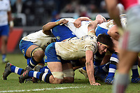 Josh Bayliss of Bath Rugby looks on at a scrum. Aviva Premiership match, between Harlequins and Bath Rugby on March 2, 2018 at the Twickenham Stoop in London, England. Photo by: Patrick Khachfe / Onside Images