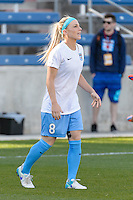 Bridgeview, IL, USA - Saturday, April 23, 2016: Chicago Red Stars midfielder Julie Johnston (8) warms up before a regular season National Women's Soccer League match between the Chicago Red Stars and the Western New York Flash at Toyota Park. Chicago won 1-0.