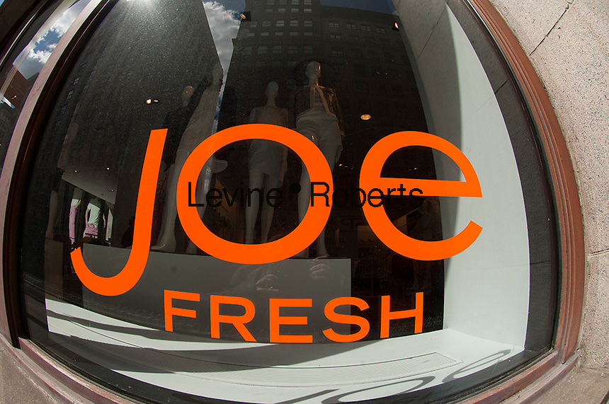 The Joe Fresh store seen in the Chelsea neighborhood in New York on Friday, March 29, 2013.  The Canadian retailer, founded by Joseph Mimran, (founder of Club Monaco), sells moderately and inexpensively priced apparel and was originally an exclusive product in the Canadian grocery chain, Loblaw's. (© Frances M. Roberts)