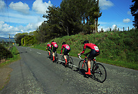 King's College senior A u20 boys in action during the 2017 NZ Schools Road Cycling championships day one team time trials at Koputaroa Road near Levin, New Zealand on Saturday, 30 September 2017. Photo: Dave Lintott / lintottphoto.co.nz