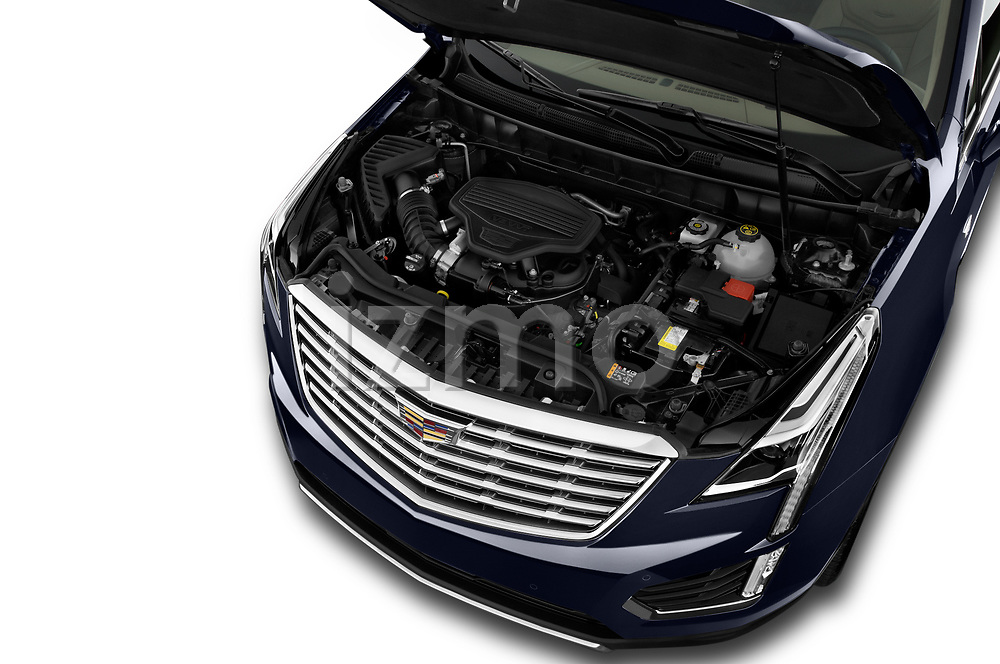 Car Stock 2019 Cadillac XT5 Platinum 5 Door Suv Engine  high angle detail view