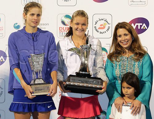 25 02 2012  Dubai , UAE.  2012 WTA Tennis Tournament International Series Dubai Tennis stadium UAE.  Finals Award Ceremony Presentation Princess Haya Bint Al Hussein and her Daughter Sheikha Al Jalila Bint Mohammed am Rashid Al Maktoum Winner Agnieszka Radwanska POL and Finalist Juliet Goerges ger with their trophies