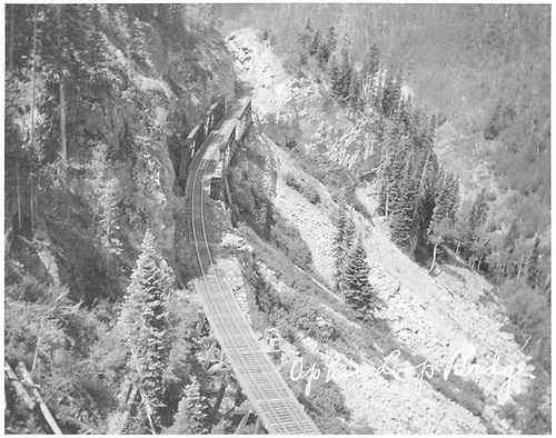 RGS High Line Bridges 46-E and 46-F with 46-F having the early truss configuration.<br /> RGS  Ophir Loop, CO  Taken by Jackson, William Henry