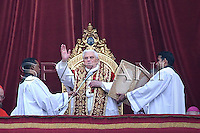 Pope Benedict XVI at the end of the message 'Urbi et Orbi from the central balcony of the Basilica of St. Peter in the Vatican today, Dec. 25, 2008.