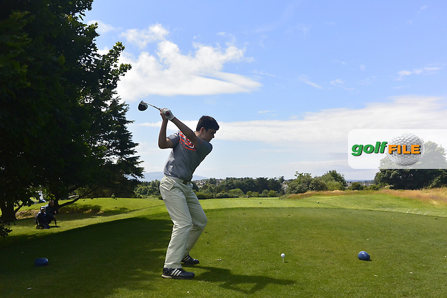 Ciaran Vaughan (Limerick) on the 16th tee during Round 3 of the 2016 Connacht U18 Boys Open, played at Galway Golf Club, Galway, Galway, Ireland. 07/07/2016. <br /> Picture: Thos Caffrey | Golffile<br /> <br /> All photos usage must carry mandatory copyright credit   (&copy; Golffile | Thos Caffrey)