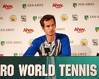Februari 09, 2015, Netherlands, Rotterdam, Ahoy, ABN AMRO World Tennis Tournament, Andy Murray<br /> Photo: Tennisimages/Henk Koster