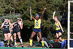 14 November 2015: Michigan's Courtney Enge (22) reacts after scoring the first goal. The Wake Forest University Demon Deacons played the University of Michigan Wolverines at Francis E. Henry Stadium in Chapel Hill, North Carolina in a 2015 NCAA Division I Field Hockey Tournament First Round match. Michigan won the game 2-1.