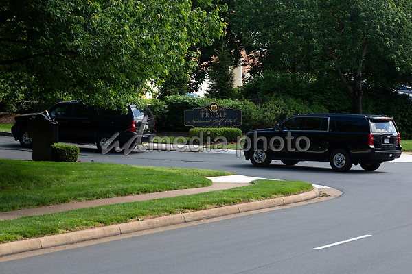 The presidential motorcade, carrying United States President Donald J. Trump, pulls into Trump National Golf Club in Sterling, Virginia on Saturday, May 23, 2020.  Credit: Stefani Reynolds / CNP/AdMedia