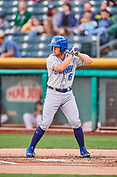 Parker Morin (16) of the Omaha Storm Chasers bats against the Salt Lake Bees in Pacific Coast League action at Smith's Ballpark on May 8, 2017 in Salt Lake City, Utah. Salt Lake defeated Omaha 5-3. (Stephen Smith/Four Seam Images)