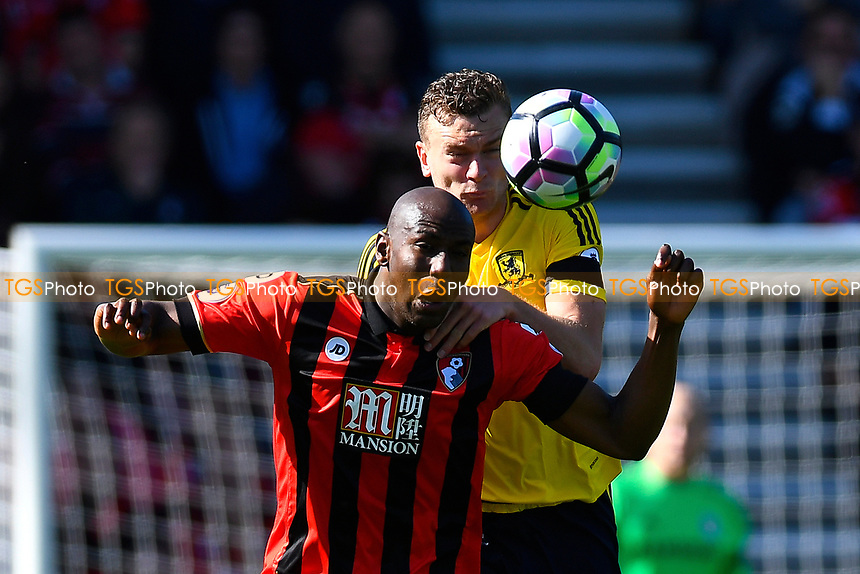 Ben Gibson of Middlesbrough and Benik Afobe of AFC Bournemouth vie for a header during AFC Bournemouth vs Middlesbrough, Premier League Football at the Vitality Stadium on 22nd April 2017