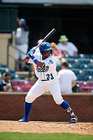 Lexington Legends designated hitter Dennicher Carrasco (21) at bat during a game against the Rome Braves on May 23, 2018 at Whitaker Bank Ballpark in Lexington, Kentucky.  Rome defeated Lexington 4-1.  (Mike Janes/Four Seam Images)