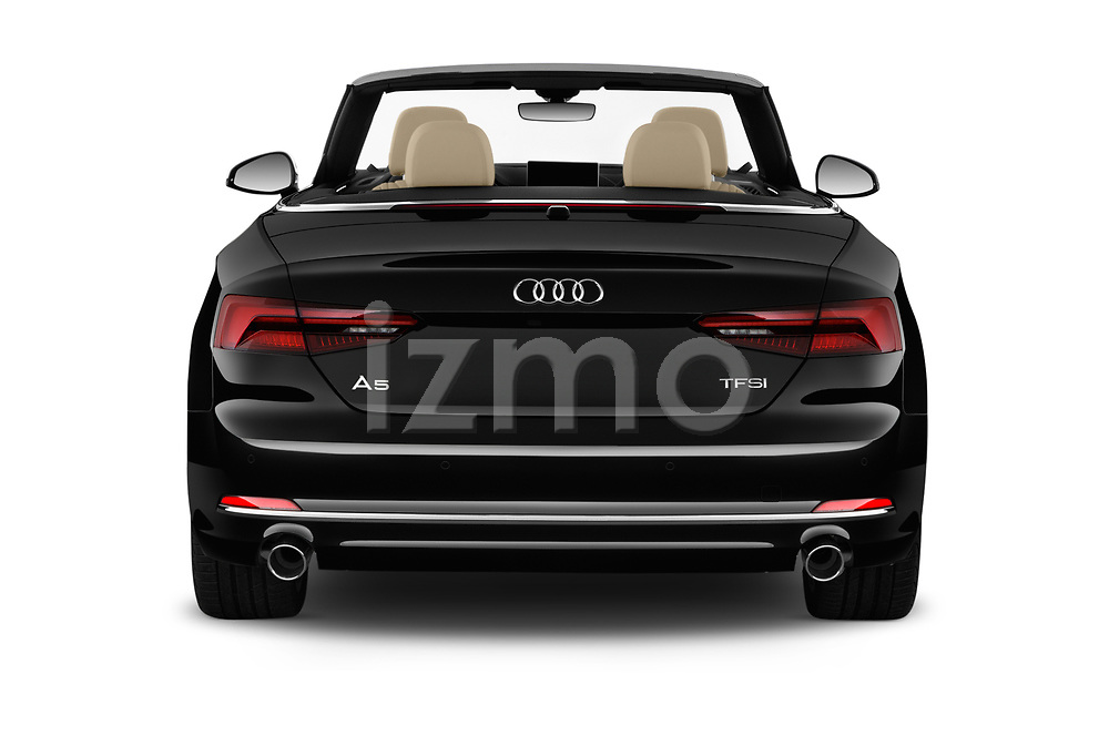 Straight rear view of 2018 Audi A5 Design 2 Door Convertible Rear View  stock images