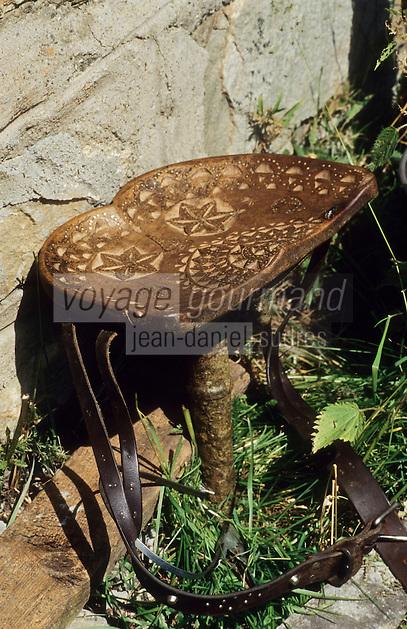 Europe/Italie/Val d'Aoste/Env d'Aoste/Planaval: Dans une estive   le siège en bois gravé à un seul pied dont se sert le berger lors de la traite des  vaches  dont le lait sert à préparer le fromage local la fontine