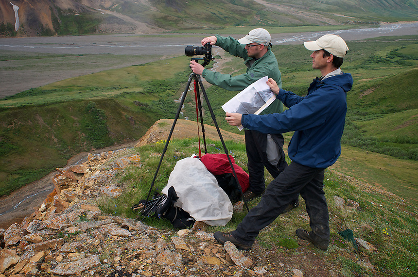 June 30, 2011, Ron Karpilo and David Tomeo locate and repeat a 1919 photograph taken by U.S. Geological Survey geologist Stephen R. Capps, East Fork Toklat Valley, Denali National Park and Preserve, Alaska, United States.