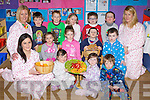 Pupils from Raheen NS, Glenflesk pre-schoolwho held a pyjama party on Thursday front row l-r:  Norissa O'Donoghue, Anna Roche, Caoimhe Cronin, Jonah Casey. Back row: Kayleigh Scannell, Rhea Kate Divane, Patrick Mullane, Tadhg Scannell. Back row: Tomás Mackey, Dylan Bowler-Roche, Sarah Warren, Conor Warren, Oscar Lovett and Joanne O'Slattery Teacher.