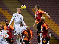 15th March 2020, Istanbul, Turkey;  Domagoj Vida of Besiktas and Florin Andone of Galatasaray challenge for a header during the Turkish Super league football match between Galatasaray and Besiktas at Turk Telkom Stadium in Istanbul , Turkey on March 15 , 2020.